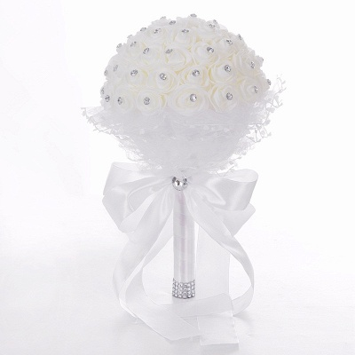 Luxury Pure White Beading Quinceanera Bouquet with Lace Ribbon_1