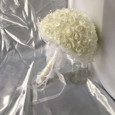 Silk Ivory Rose Quinceanera Bouquet with Lace ribbons_7