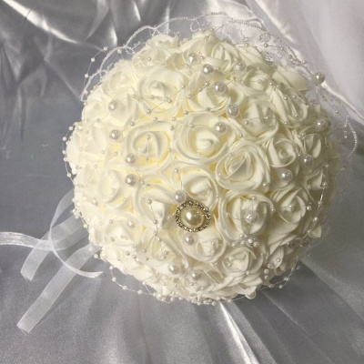 Silk Ivory Rose Quinceanera Bouquet with Lace ribbons