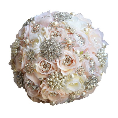 Sparkly Crystal Beading Silk Rose Quinceanera Bouquet in White and Romantic Pink_5