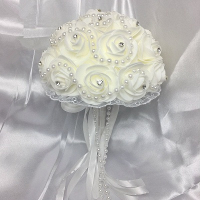 Ivory Rose Bouqet for Quinceanera with Beading Strings_1