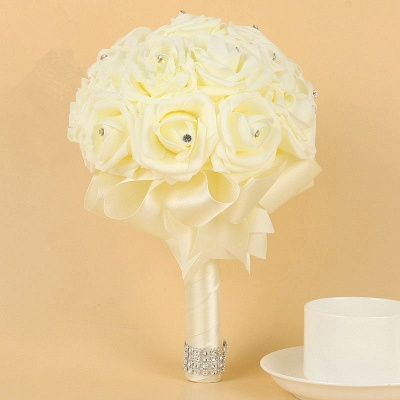 Ivory Silk Beading Rose Quinceanera Bouquet with Rainbow Ribbons_2