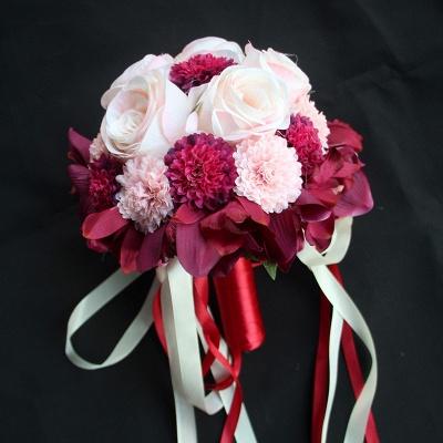Ramo de novia de seda y orquídeas artificiales Rose de seda_3