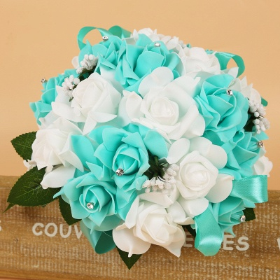 Rainbow Silk Rose Quinceanera Bouquet with Ribbons