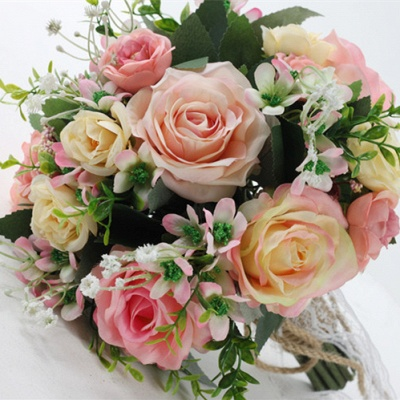 Two colors Artificial Real Touch Rose Bouquet for Quinceanera_4