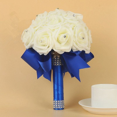 Ivory Silk Beading Rose Quinceanera Bouquet with Rainbow Ribbons_9