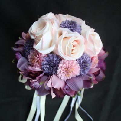 Ramo de novia de seda y orquídeas artificiales Rose de seda_5