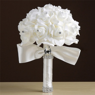 White Silk Rose Crystal Beading Bouquet in Rainbow Handles_2