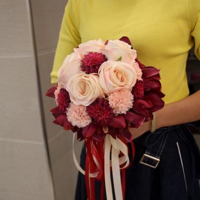 Ramo de novia de seda y orquídeas artificiales Rose de seda_9