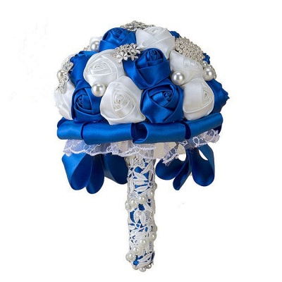 Luxury White Silk Rose Bouquet with Crystal Beading_3