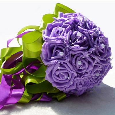 Maravilloso Seda Rose Múltiples colores ramo de la boda_7