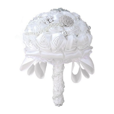 Luxury White Silk Rose Bouquet with Crystal Beading_5