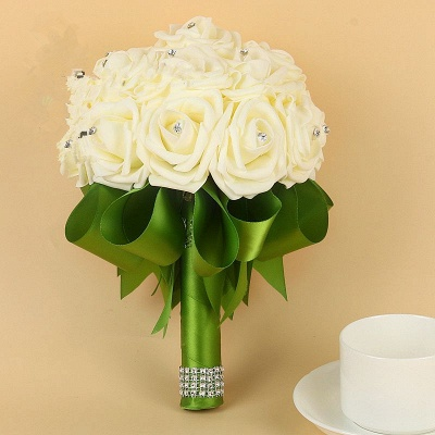 Ivory Silk Beading Rose Quinceanera Bouquet with Rainbow Ribbons_10