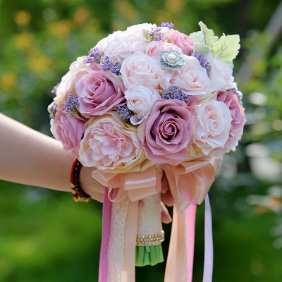 Artificial Silk Rose Quinceanera Bouquet in Two Tone Romantic Pink_1