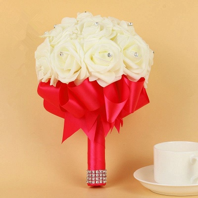Ivory Silk Beading Rose Quinceanera Bouquet with Rainbow Ribbons_4