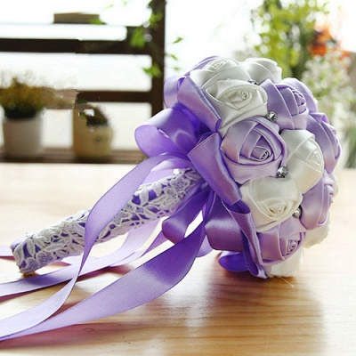 Two Colors Silky Rose Bouquet for Quinceanera_7