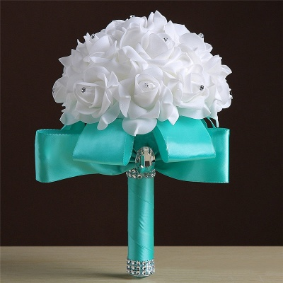 White Silk Rose Crystal Beading Bouquet in Rainbow Handles_7