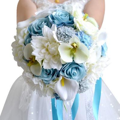 Ramo de novia Artificial de manzanilla y lirio en azul y blanco_1