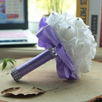 White Silk Quinceanera Bouquet with Rainbow Handles_8