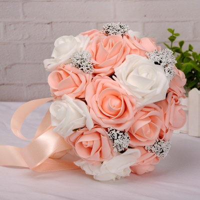 Two Colors Silk Flowers Quinceanera Bouquet with Ribbon_7