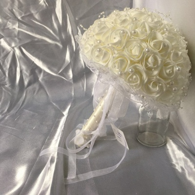 Silk Ivory Rose Quinceanera Bouquet with Lace ribbons_6