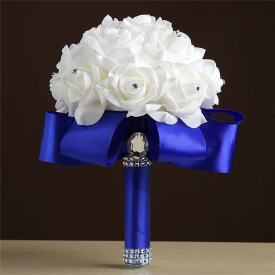 White Silk Rose Crystal Beading Bouquet in Rainbow Handles_6