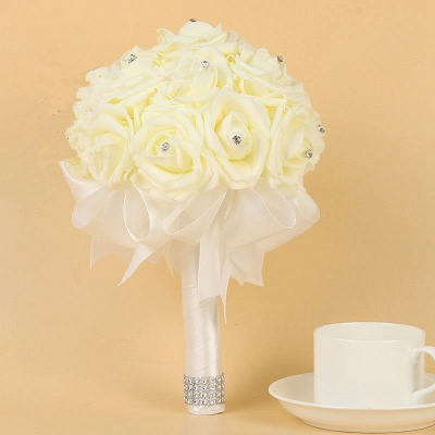 Ivory Silk Beading Rose Quinceanera Bouquet with Rainbow Ribbons_1
