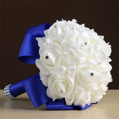 White Silk Rose Crystal Beading Bouquet in Rainbow Handles_9