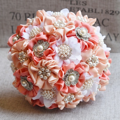 Silk Rose Pearls Quinceanera Bouquet in Three Tune Colors_1
