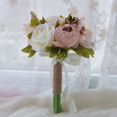 Real Touch Artificial Peony and Rose Quinceanera Bouquet_2