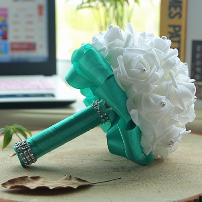 White Silk Quinceanera Bouquet with Rainbow Handles_12