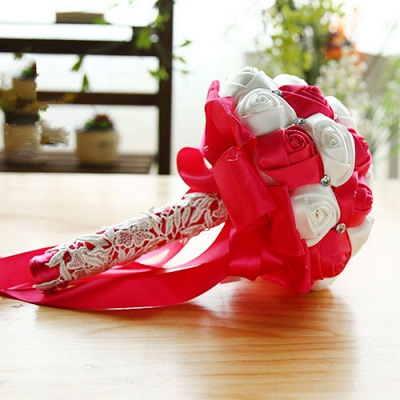 Two Colors Silky Rose Bouquet for Quinceanera_3