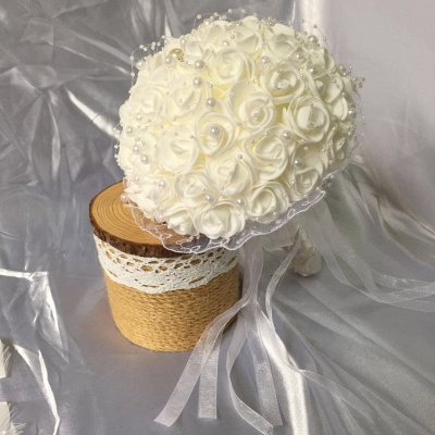 Silk Ivory Rose Quinceanera Bouquet with Lace ribbons_5