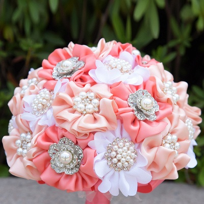 Silk Rose Pearls Quinceanera Bouquet in Three Tune Colors_5