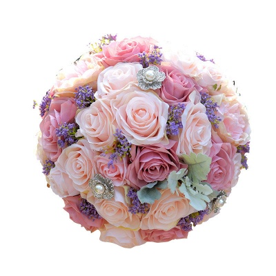 Artificial Silk Rose Quinceanera Bouquet in Two Tone Romantic Pink_5