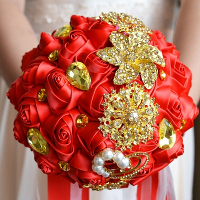 Rainbow Silk Rose Crystal Beading Quinceanera Bouquet_4