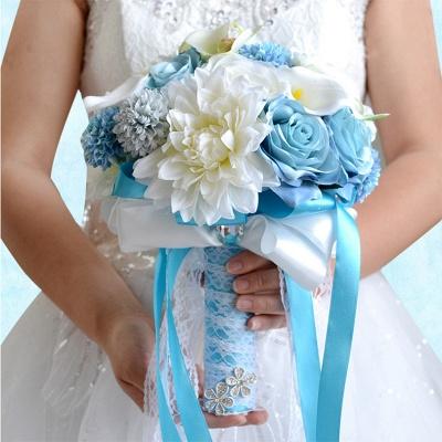 Ramo de novia Artificial de manzanilla y lirio en azul y blanco_3