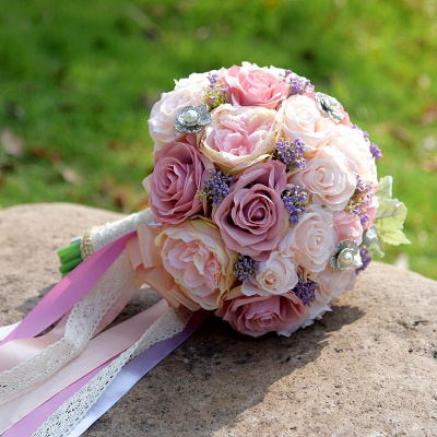 Artificial Silk Rose Quinceanera Bouquet in Two Tone Romantic Pink_6