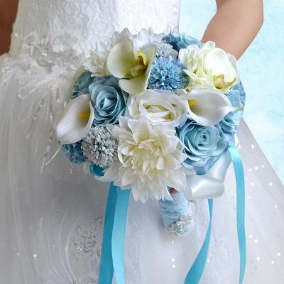 Ramo de novia Artificial de manzanilla y lirio en azul y blanco_6