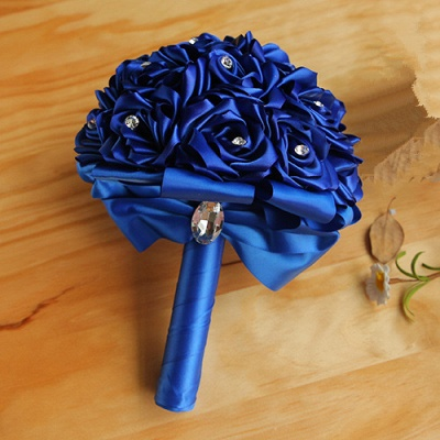 Rainbow Silk Rose Quinceanera Bouquet with Crystals_6