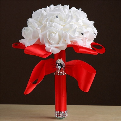 White Silk Rose Crystal Beading Bouquet in Rainbow Handles_4