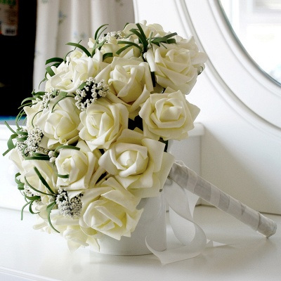 Silk Rose Quinceanera Bouquet in Ivory with Ribbons_4