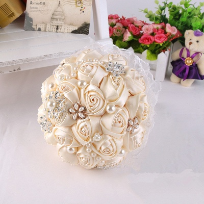 Luxury Pearls Lace Silk Rose Bouquet for Quinceanera_3