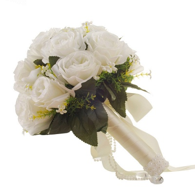 White Rose Artificial Quinceanera Bouquet with Handle_5