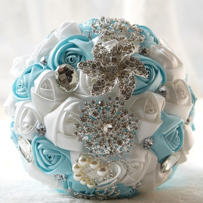 Rainbow Silk Rose Crystal Beading Quinceanera Bouquet_6