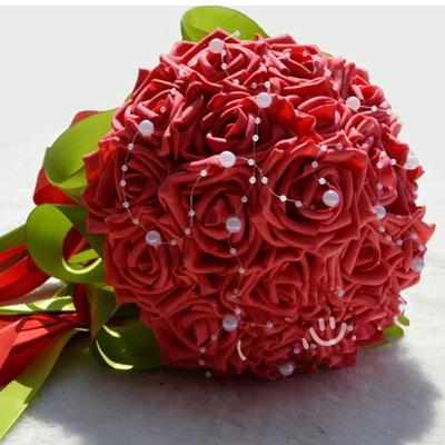 Maravilloso Seda Rose Múltiples colores ramo de la boda_3