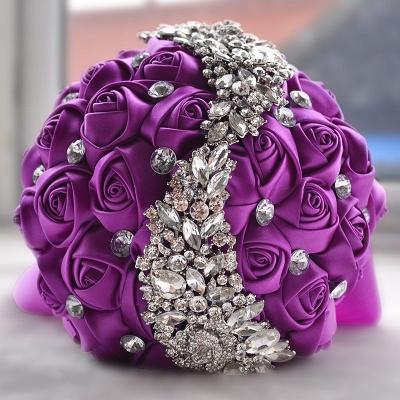 Sede Rosa rebordear ramo de la boda en múltiples colores_5