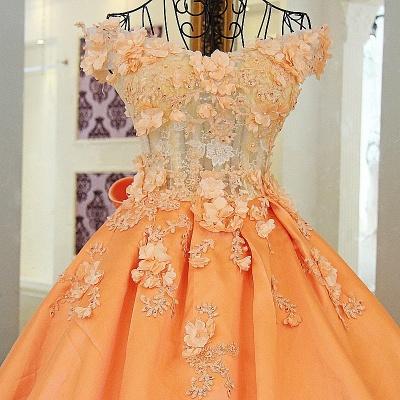 Elegante vestido de quincea_era con appliques | sin mangas con flores de novia_5