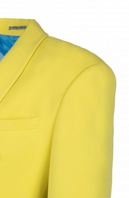 High Quality Fashion Two Button Daffodil Chambelanes Tuxedos Back Vent_4