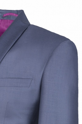 Shawl Lapel Two Button Back Vent Light Grey Single Breasted Casual Suit_4